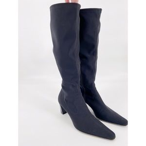 Aquatalia Knee High Pointed Stretch Knit Sock Boot